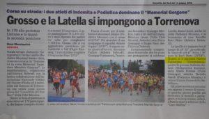 Gazzetta del Sud 14 giugno 2016 - Gara di Torrenova