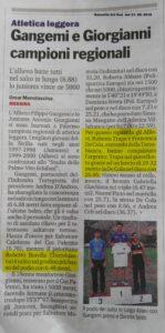 Gazzetta del Sud 21 settembre 2016 - Campionati regionali individuali allievi