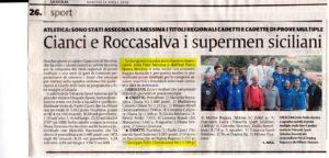 Faliti terzo ai campionati regionali di prove multiple (La Sicilia)