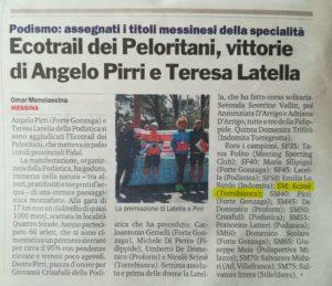 Scimè sul podio all'EcoTrail dei Peloritani 2018